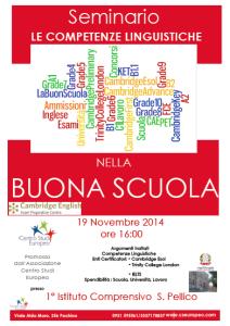 Seminario Le Competenze Linguistiche nella Buona Scuola.  Associazione Centro Studi Europeo Pachino